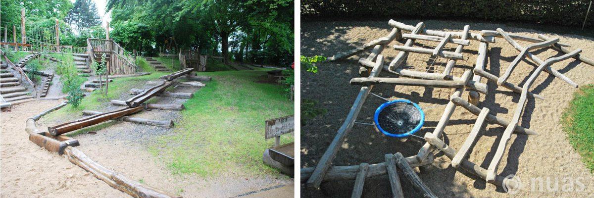 Große Wasserspielanlage und Baumstamm-Mikado (Robinienholz) - nuas® für Landschaftsbauer