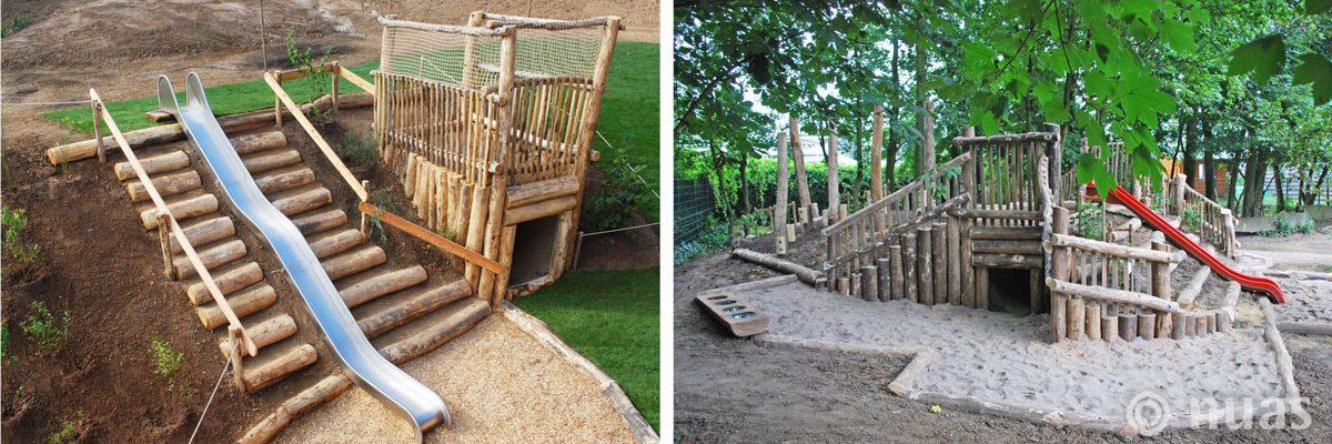Große Hangrutsche und Spielhügel mit Kriechtunnel - nuas® für Landschaftsbauer