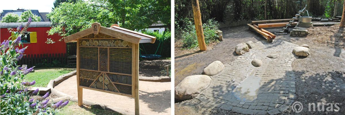 Insektenhotel und Wasserlauf aus Natursteinpflaster - nuas® für Landschaftsbauer