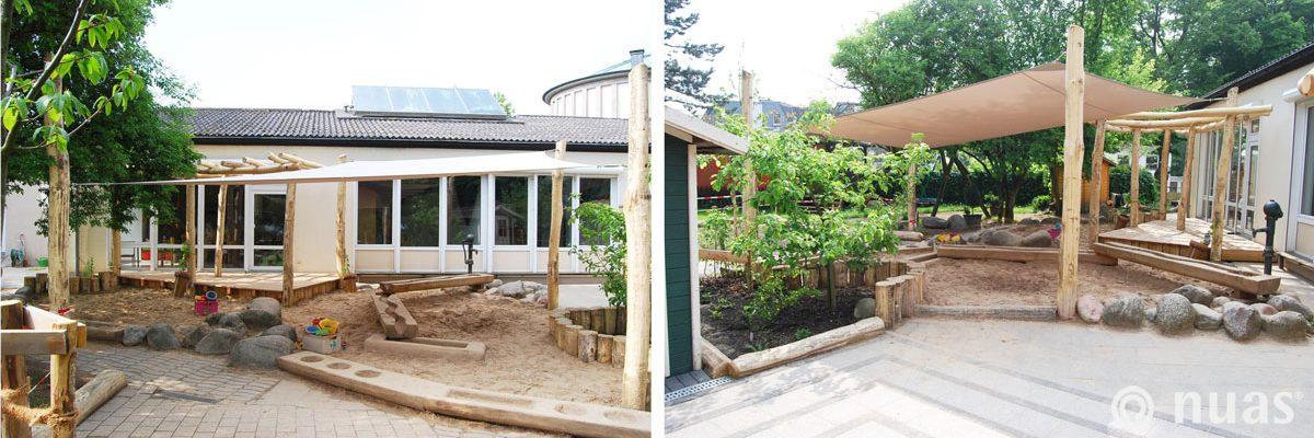 Wasserspielbereich und Sandspielbereich (Robinienholz) - nuas® für Landschaftsbauer