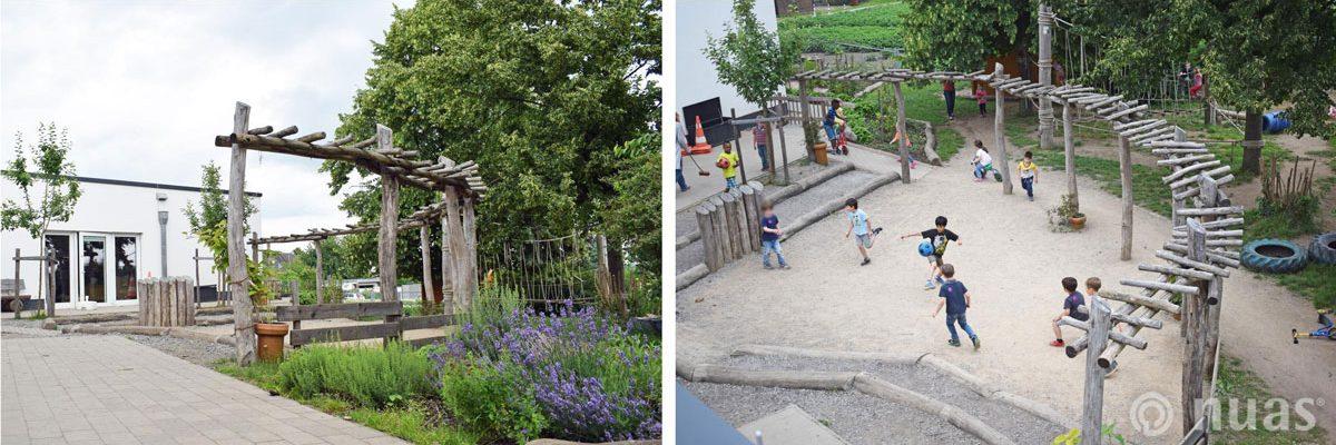 Landschaftbau mit Pergola aus Robinienholz und Fußballplatz - nuas® für Landschaftsbauer