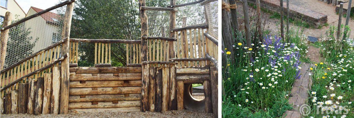 Kletterwand aus Robinienholz und Einsaat - nuas® für Landschaftsbauer