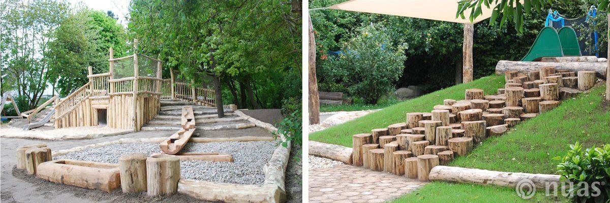 Spielhügel und Motoriktreppe aus Robinienholz - nuas® für Landschaftsbauer