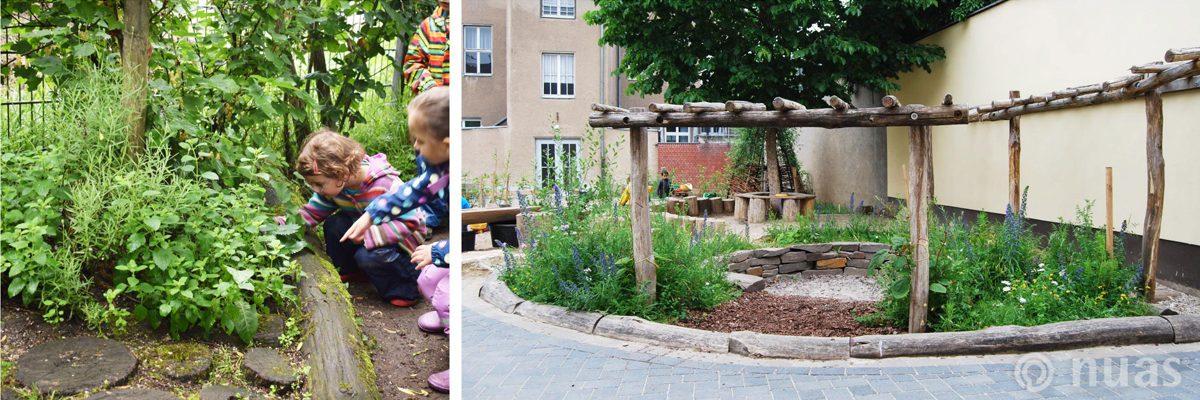 Duft/Geschmackspflanzen und Duft/Ruheinsel mit Robinienholz - nuas® für Landschaftsbauer