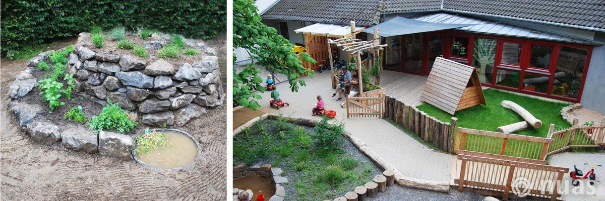 Kräuterspirale und U3 Außengelände mit Robinienholz - nuas® für Landschaftsbauer
