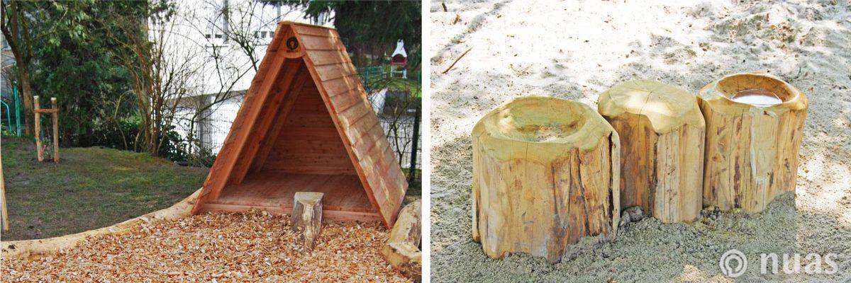 nuas Nurdachhaus Baumstammtisch und -mulde