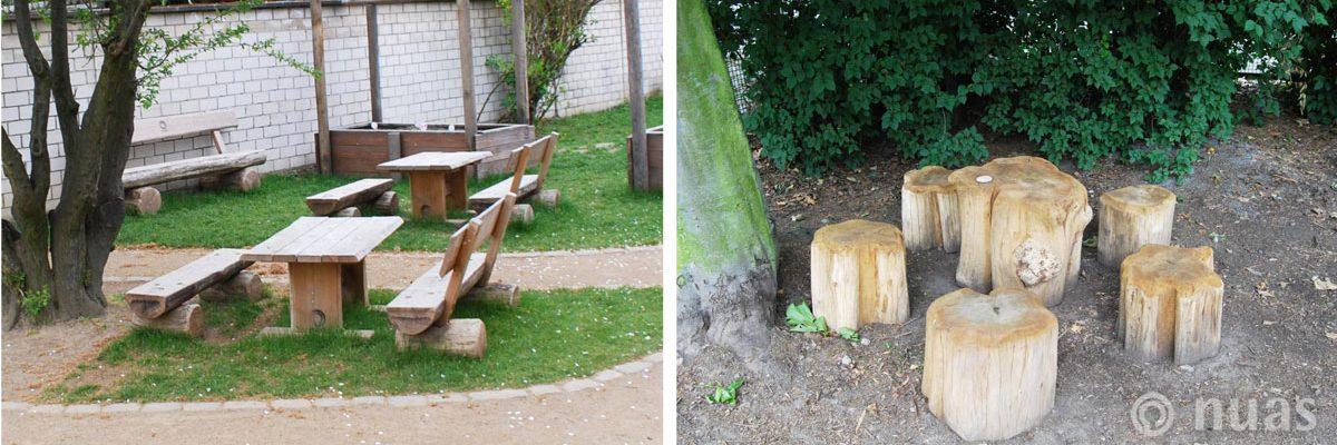 Sitzgruppe für Kinder--Stammholzsitzgruppe