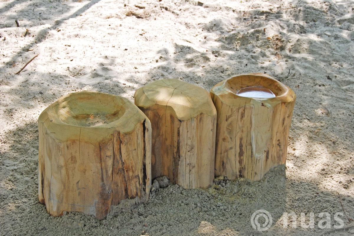 Baumstammtisch und -mulde - nuas® Wasserspiellandschaft